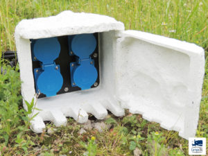 Steinsteckdose Steckdose 5 Meter Kabel 4-fach Gartensteckdose Außensteckdose