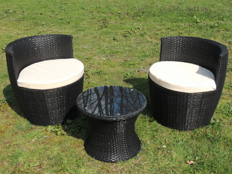 3er set gartenm bel rattanoptik anthrazit gartensitzgruppe f r balkon. Black Bedroom Furniture Sets. Home Design Ideas