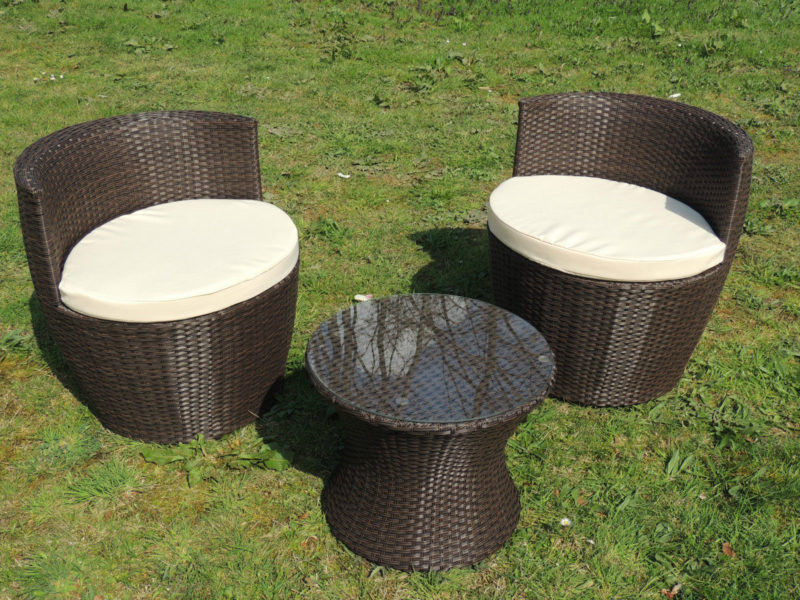 3er set gartenm bel rattanoptik braun gartensitzgruppe f r balkon. Black Bedroom Furniture Sets. Home Design Ideas
